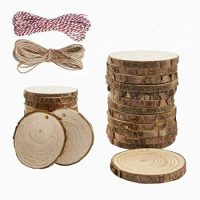 Fasdu 20pcs Natural Wood Slices 2.3-2.7 Inch Round Log Discs Unfinished Craft Wood kit and 2 roll 32.8 Feet Twine String for DIY Christmas Crafts Wedding Decoration Party Ornaments