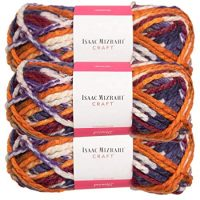 Premier Yarns (3 Pack Isaac Mizrahi Lexington Acrylic & Wool Soft Irving Orange Blue Purple White Yarn for Knitting Crocheting #6 Super Bulky