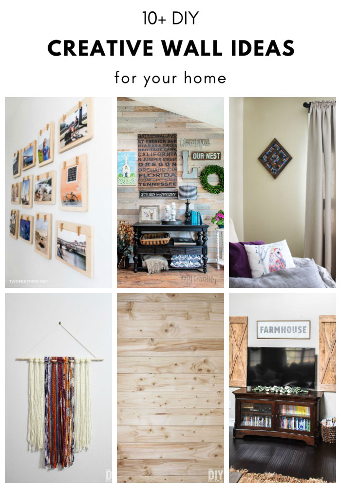 A collection of over 10 Creative Wall Ideas to help decorate a home.