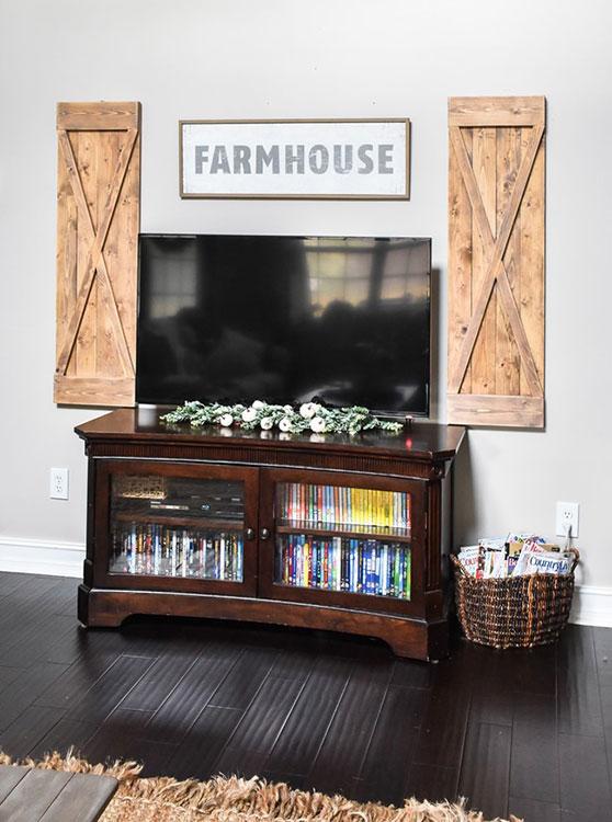 DIY Farmhouse style decorative wood shutters