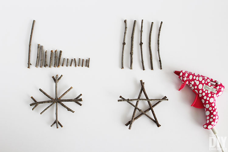 Assemble ornaments with hot glue.