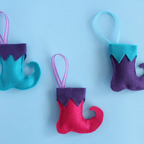 Elf Boots Felt Christmas Ornaments