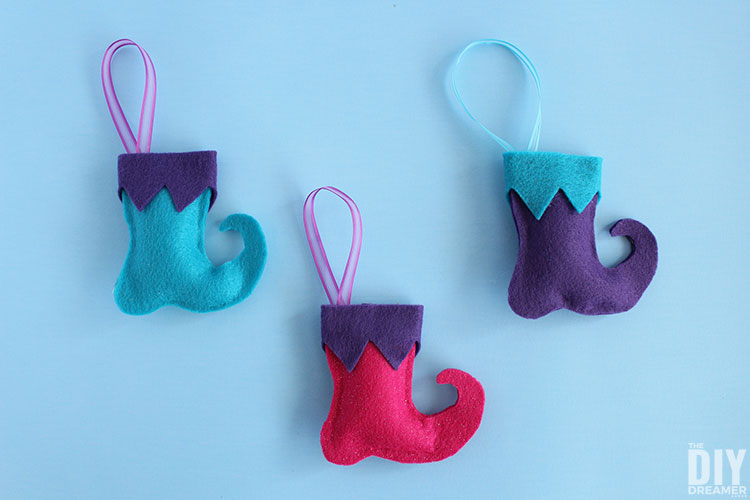 Elf Boots Ornaments. Felt Christmas Ornaments.