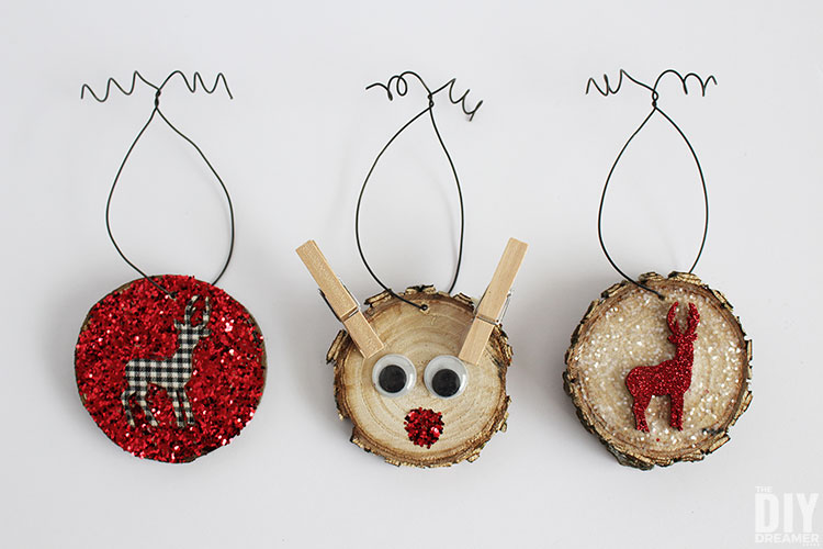 DIY glitter wood slice ornaments