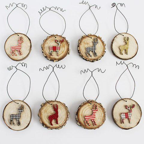 Deer Wood Slice Ornaments