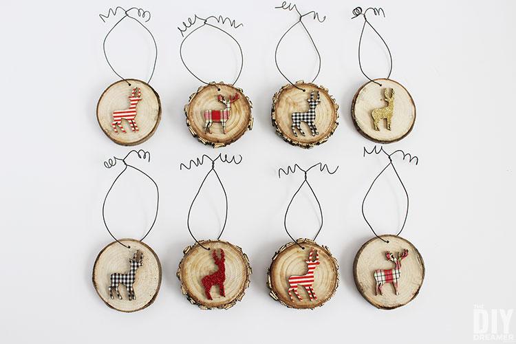 DIY Deer Wood Slice Ornaments.