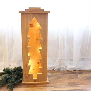 DIY Christmas Tree Wood Lantern.