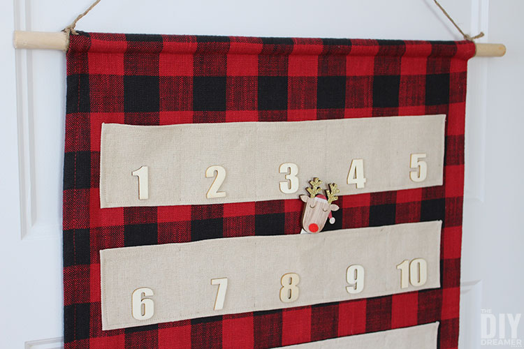 DIY Fabric Christmas Countdown with pockets.