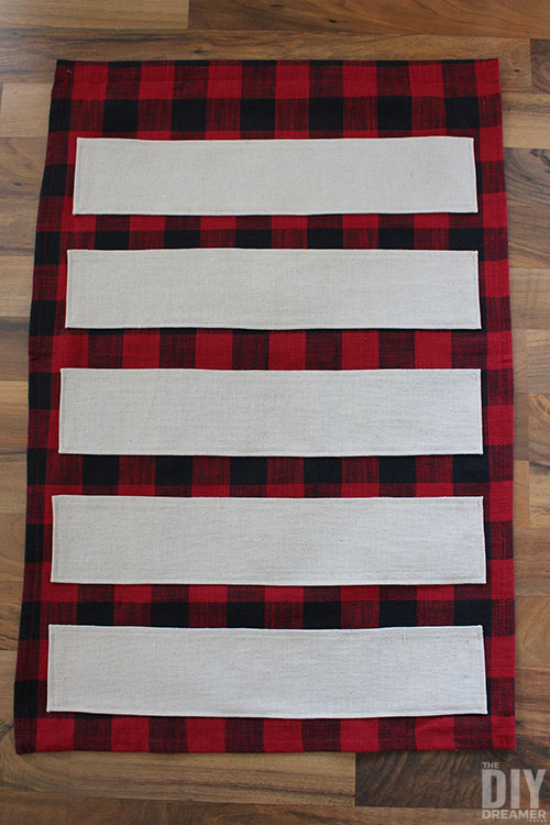 Fabric strips before they become pockets.