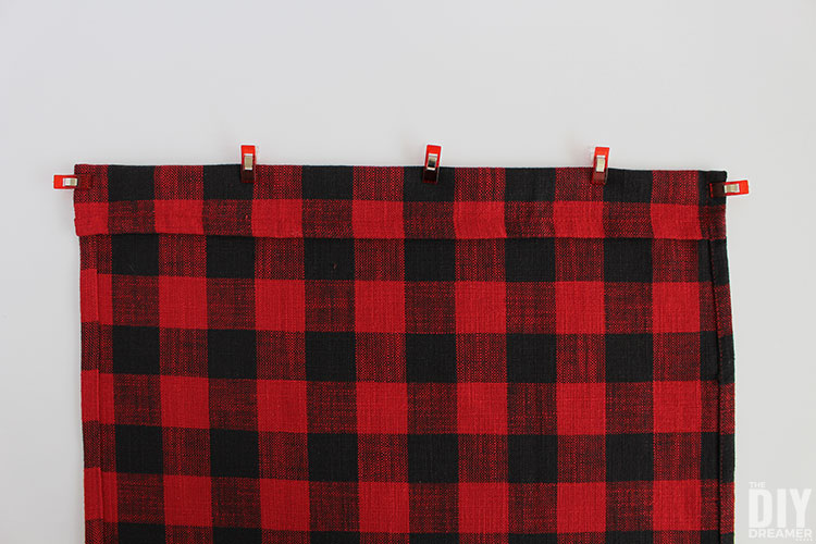 Fold and pin fabric to sew.