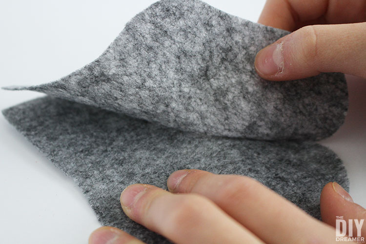 Glue felt in sections.