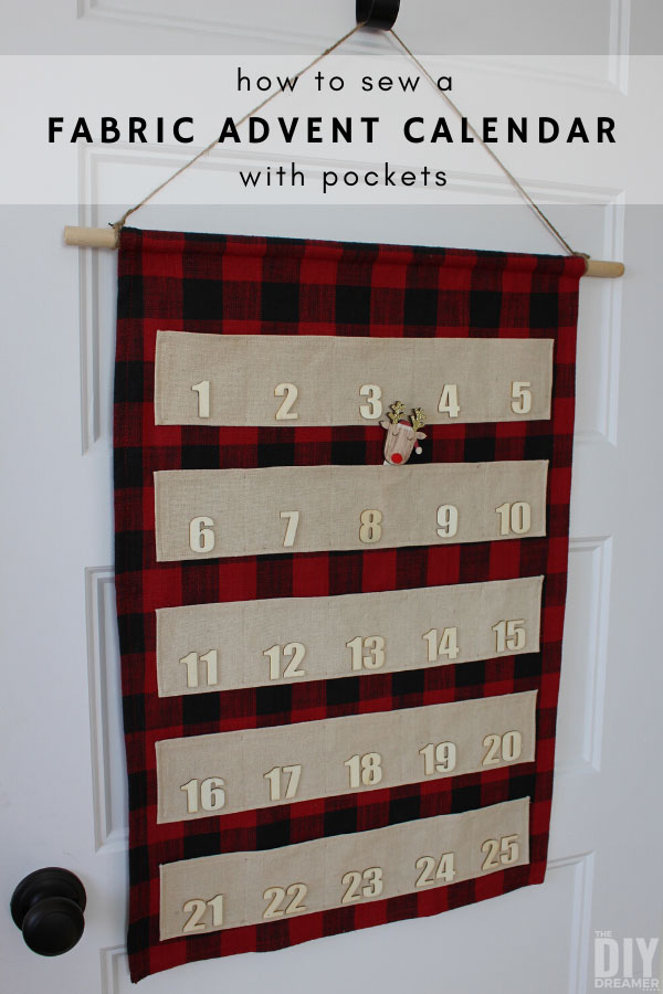 Learn how to sew a fabric advent calendar with pockets. This DIY fabric Christmas countdown calendar makes a beautiful Christmas door decoration.
