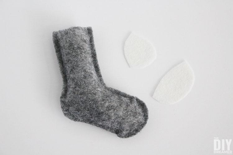 Felt toe and heel for sock.