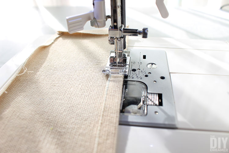 Top stitch the top of the strips.