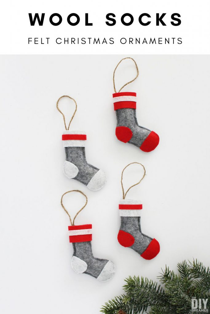 Wool Socks Felt Christmas Ornaments. Learn how to make these adorable felt wool socks ornaments for Christmas. This is a quick no sew craft.