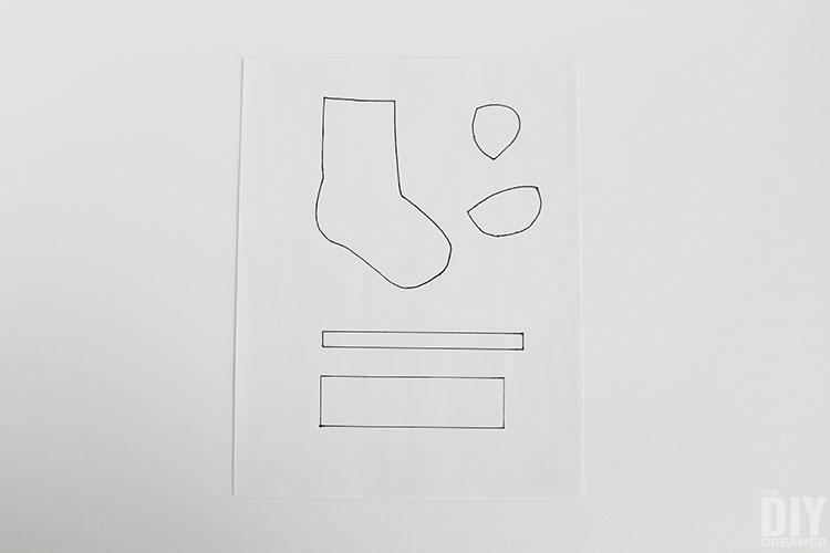 Wool socks template printable.