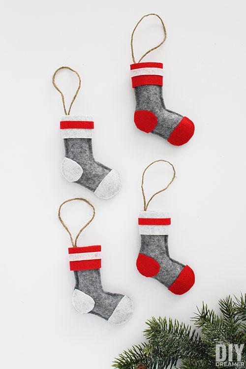 No sew DIY Wool Socks Felt Christmas Ornaments. Quick and easy Christmas craft.