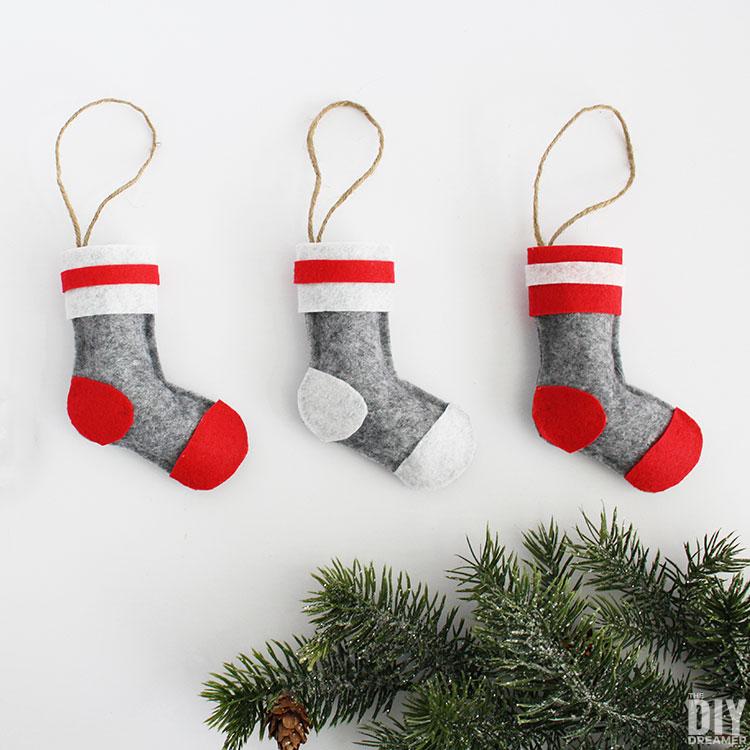 Felt Wool Socks Stocking Christmas Ornaments. No sew craft.