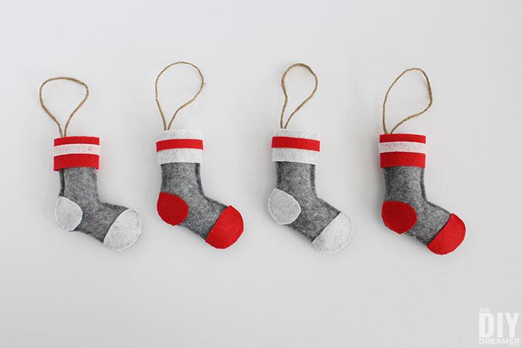 DIY Wool Socks Stocking Ornaments.