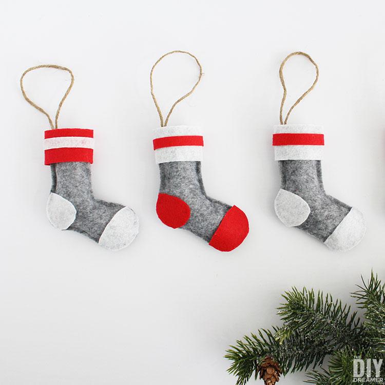 Felt Wool Socks Stocking Christmas Ornaments.