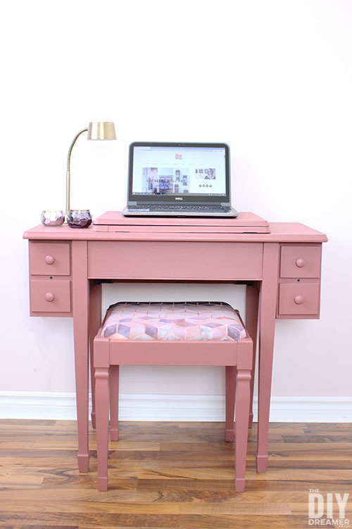 DIY repurposed sewing cabinet upcycled into a computer desk.