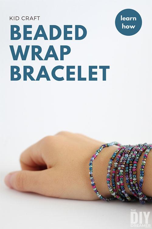 Beaded wrap bracelet wrapped around a wrist.