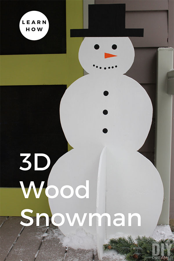 3D wood snowman.